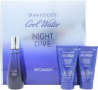 Davidoff Cool Water Night Dive Woman Geschenkset 50ml EDT + 50ml Körperlotion + 50ml Duschgel
