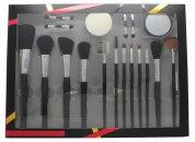 Active Cosmetics Professional Cosmetics Pinsel Set 4 Applikatoren + Schwamm + Spiegel + 12 Pinsel