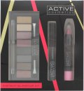 Active Cosmetics Instant Glamour Kit Geschenkset 6.5ml Mascara + 8 x 1.5g Lidschatten + 3.3g Lippen Crayon + Zweiseitiger Applikator