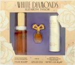 Elizabeth Taylor White Diamonds Geschenkset 30ml EDT + 3.7ml Parfum +  28g Satin Body Talc