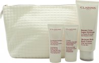 Clarins My Winter Essentials Geschenkset 200ml Body Lotion + 30 Body Scrub + 30ml Handcreme + Reisetasche