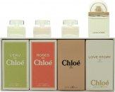 Chloé Miniatures Geschenkset 5ml L'eau de Chloé EDT + 5ml Roses De Chloé EDT + 5ml Chloé EDP + 7.5ml Love Story EDP