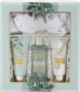 Style & Grace Spa Botanique Calming Collection Geschenkset 200ml Body Wash + 70ml Body Lotion + 70ml Körperpeeling + Stirnband