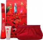 Kenzo Flower Tag Geschenkset 100ml EDT + 50ml Body Lotion + Kosmetiktasche